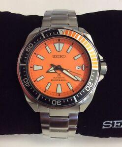 SEIKO-PROSPEX-Orange-Samurai-Waffle-Stainless-Steel-Automatic-Diver-WATCH-SRPC07