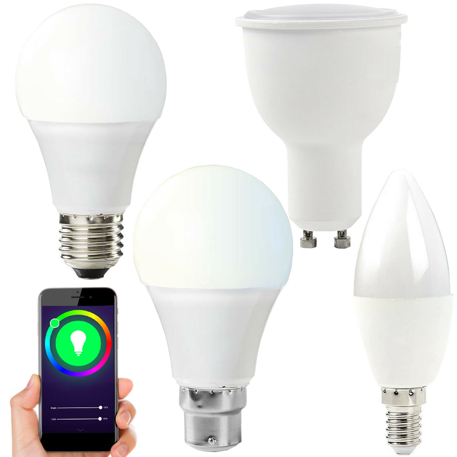 WiFi Colour Changing LED Light Bulbs -RGB & Warm White-SMART Auto Dimmable Timer