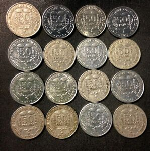 Old-French-West-Africa-Coin-Lot-50-Francs-16-Great-Exotic-Coins-FREE-SHIP