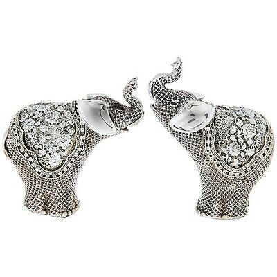 SET OF TWO Silver Fligree Elephant Mini 12cm Statue Ornament Figurine