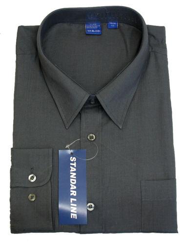 Mens Grey Uniform Shirt Formal Casual Work Wedding Navy Shirts Party Collar Size