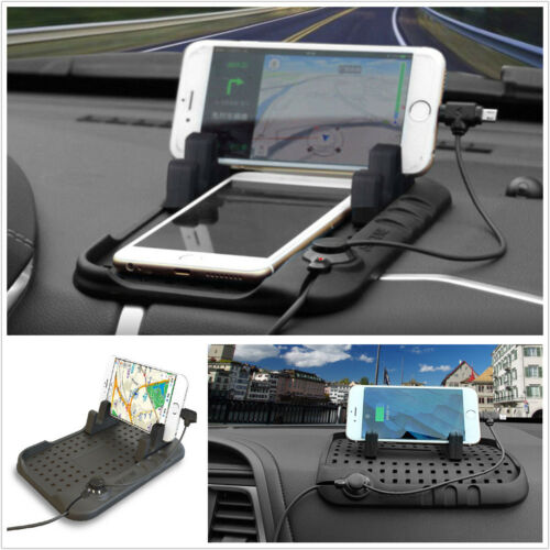 Car Dashboard Holder Stand USB Mount Charger Cradle Non-Slip Pad For IPhone GPS