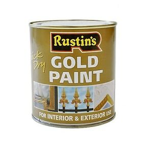 Rustins 500ml gold paint quick dry interior exterior for wood and metal ebay - Exterior wood and metal paint set ...