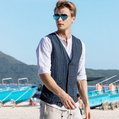 Men/'s Casual Cotton Linen Stripe Vest Jackets Pocket Gilet Tops Waistcoat Summer