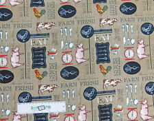 Patchwork Quilting Sewing Fabric FARM TO TABLE ALLOVER Material 50x55cm New