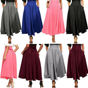 1d4d4324e6 Women Full Length Skirt Flared Pleated Party Long Maxi Skirt High ...
