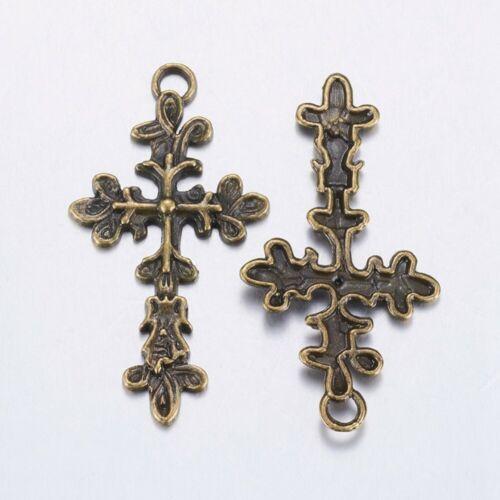 5pc 47x25mm antique  finish metal cross pendants-pls pick a color