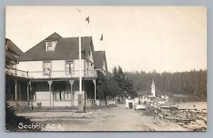 Sechelt-BC-British-Columbia-RPPC-Waterfront-RARE-Antique-Sunshine-Coast-Photo