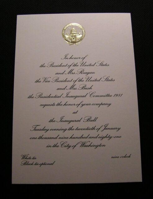 ORIGINAL 1981 RONALD REAGAN INAUGURATION INVITATION Inaugural Official NICE!
