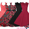 Womens Vintage 50S 60S Retro Rockabilly Evening Party Skater Swing Tea Dress UK