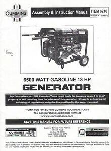 CUMMINS ASSEMBLY & INSTRUCTION MANUAL FOR 6210 6500 WATT GAS