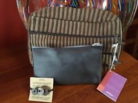 Classic Aveda Attache Bag \ Make Up Bag \ Tagua Nut Pony Tail Holder Set