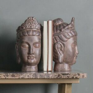 Pair-Of-Superb-Large-Buddha-Head-Book-Ends-Antique-Stone-Effect