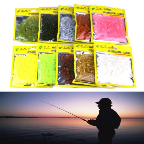 10x Curly Tail Grub Worm Mixed Soft Plastic Lure Fishing Tackle Bait Jig Head ~