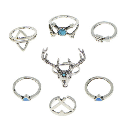 7Pcs Boho Ladies Fashion Antlers Finger Ring Set Party Prom Clubwear Jewelry