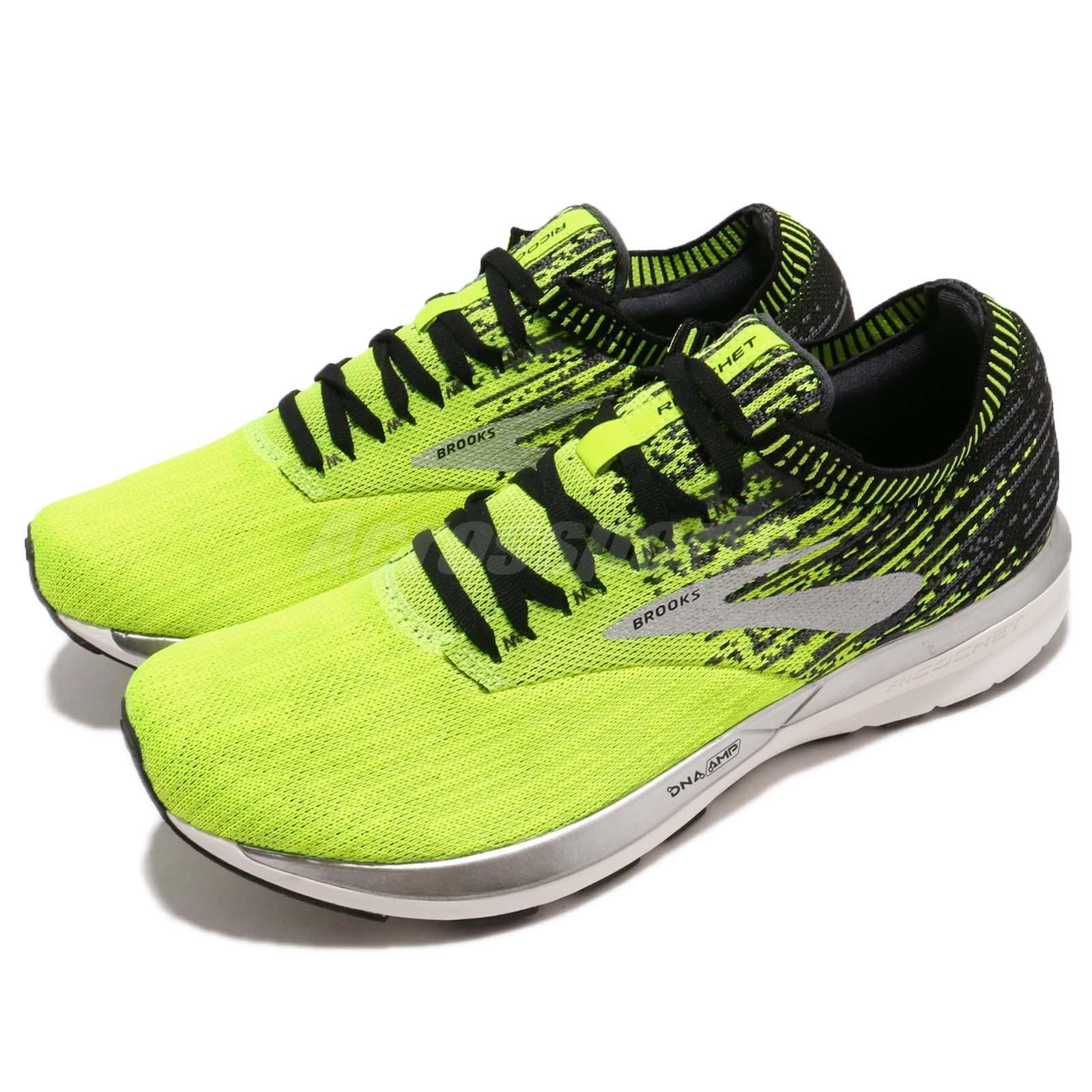 Brooks Ricochet Jaune Noir Argent Hommes FonctionneHommest Training Chaussures paniers 110293 1D