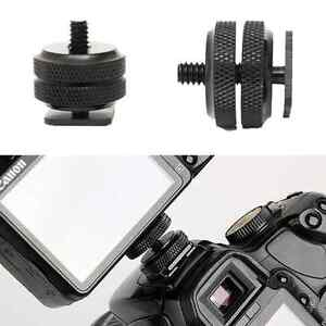 1/4 Inch Dual Nuts Tripod Mount Screw to Flash Camera Hot Shoe Adapter Tool CND