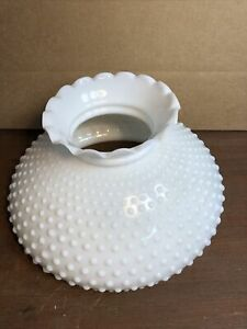 Antique-Vintage-Large-Ruffle-Hobnail-White-Milk-Glass-Lamp-Shade-11-3-4-Fitter