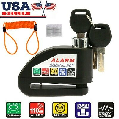 Electric Scooter Motorcycle Bike Disc Lock Security Anti-theft Alarm 110db#
