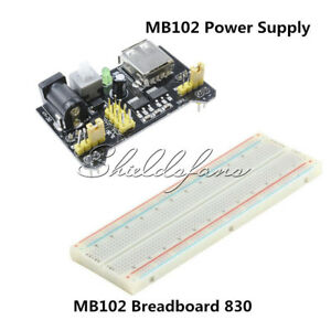 3.3V 5V MB102 Power Supply Board+PCB Breadboard 830 Tie Point For Arduino DIY