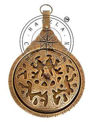 Antique Brass Vintage Engraved Astrolabe Arabic Islamic Calendar Handmade 5/""