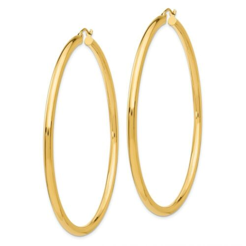 14 to 66mm 3 mm Classic Light Hoop Earrings in Genuine 14k Yellow Gold