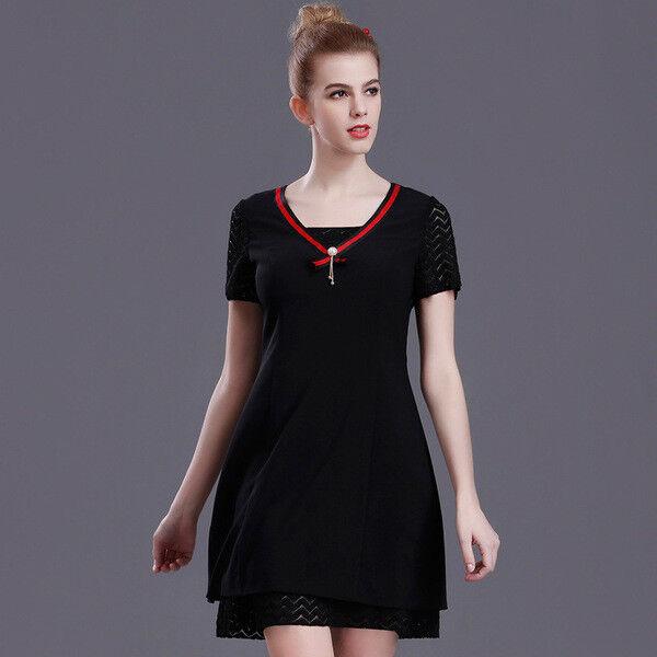 Élégant kleid kurz schwarz rot sommer schaukel komfortabel 4311