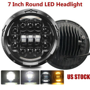 7-034-Inch-Round-LED-Headlight-Halo-Angle-Eyes-For-Jeep-1997-2017-Wrangler-JK-LJ-TJ