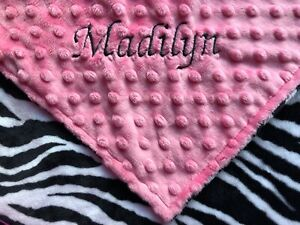 c5589d757d133 Details about Personalized Minky Baby Blanket Zebra/Stroller  Blanket/Lovey/Taggie/Baby Gift