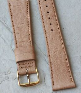 Tan-unpadded-19mm-all-stitched-Genuine-Peccary-vintage-watch-strap-NOS-1960s-70s