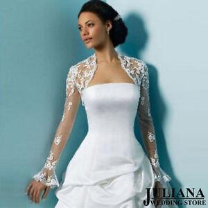 Image Is Loading New White And Ivory Long Sleeve Lace Jacket