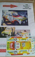 Decals 1/18 réf 848 Renault 4l Granja Dakar 1981
