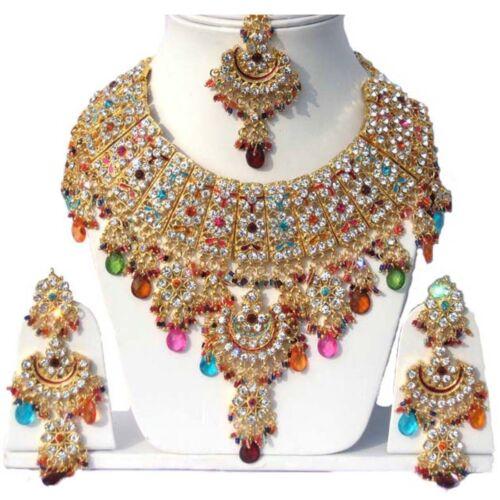 Vergoldet Jodha/'s Kundan Zerconic Bollywood Halskette Set Schmuck ES7