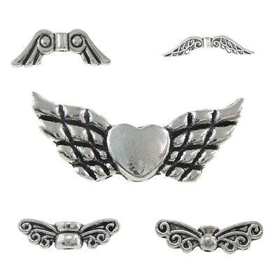 22mm Jewellery Making FREE POST Angel Wings with Heart Silver