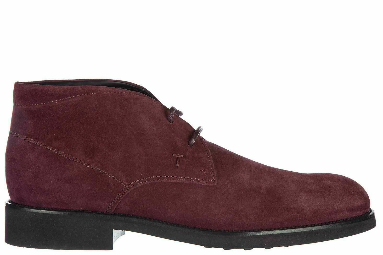 Tod's Men's Maroon Suede Lace Up Ankle Boots Shoes (6.5 UK / 7.5 US)