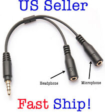 3.5mm Stereo Audio Male to 2 Female Headphone/Mic Y Splitter Cable Adapter USA!
