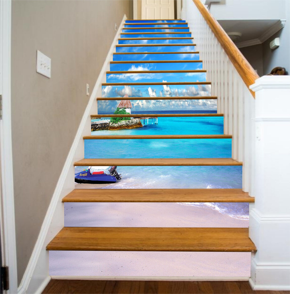 3D Ocean Boat 5 Stair Risers Decoration Photo Mural Vinyl Decal Wallpaper UK