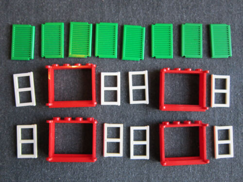 Red White /& Green LEGO 4 x Complete Window Units with Pane Frame and Shutters