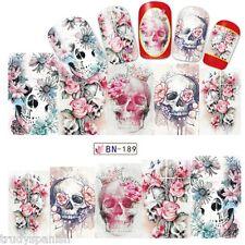 Nail Art Water Decals Full Wraps PINK Halloween Skulls Flowers Gel Polish (189)