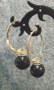 Vintage-Signed-Narco-14K-Yellow-Gold-Black-Onyx-Ball-Earrings