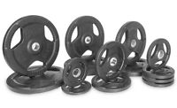 Xmark Premium Quality Rubber Coated Tri-grip Olympic Plate Weights - 255 Lb. Set