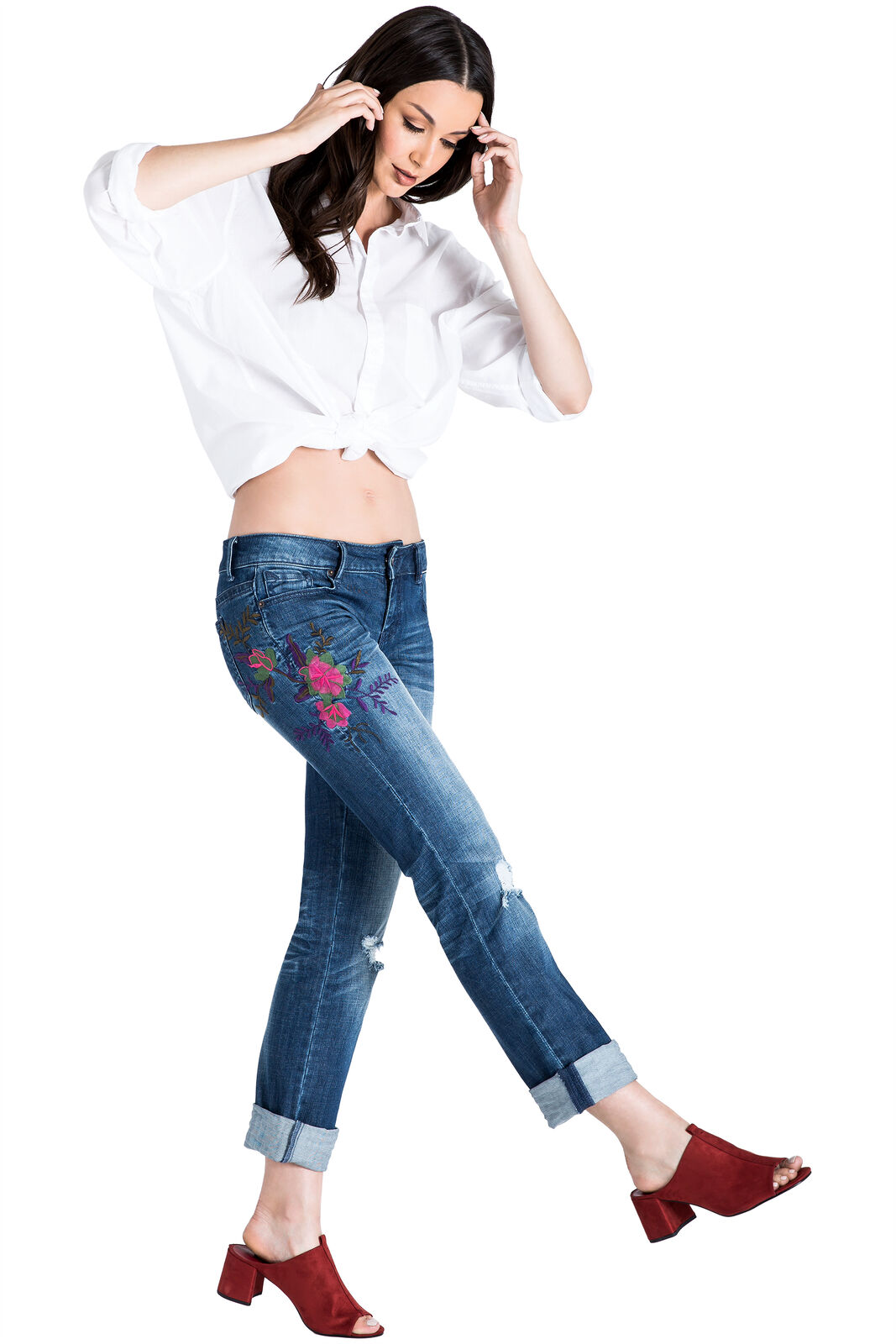 Standards & Practices Women's Embroidered Distressed Boyfriend Premium Jeans