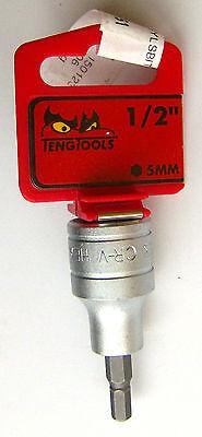 """5mm Long Hex Socket Bit Teng Tools M122505-C1//2/"""" Drive"""