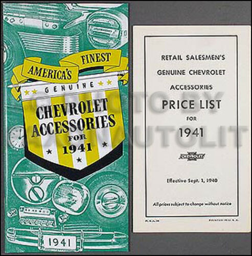 1941 Chevrolet Accessory Catalog SET 41 Chevy Car Truck Pictures and Part Number