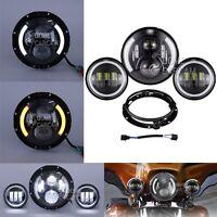 7 Daymaker Led Headlight Passing Lights For Harley Davidson Road King Flhr 60w
