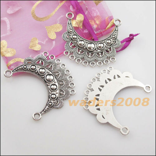 2 New Charms Tibetan Silver 2-8 Moon Flower Pendants DIY Connectors 42x46mm