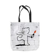 Banksy Bear Molotov Design Tote bag shopping spiaggia scuola L&S STAMPE