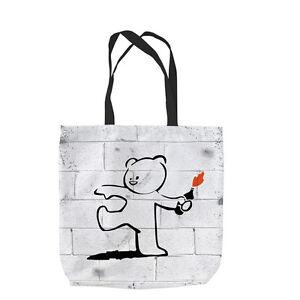 Banksy Bär Molotow Design Tragetasche Einkauf Strand Schule L&S Aufdruck