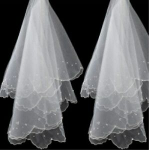 White-Ivory-Wedding-Veils-For-Bride-Beaded-Pearls-Bridal-Accessories-1-5M-1Tier