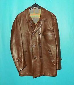 veste vintage GRAULHET EDF année 1977 cuir marron doublé laine taille L
